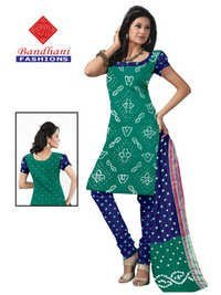 Bandhani NavyBlue Green Cotton Silk Suits