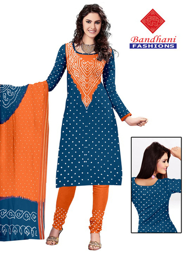 Bandhani Organge Blue Cotton Silk Suits