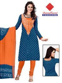 Bandhani Organge Blue Cotton Silk Suits