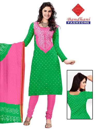 Bandhani Pink Lightgreen Cotton Silk Suits