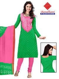 Bandhani Pink Lightgreen Cotton Silk Suits