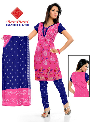 Bandhani Pink Blue Cotton Silk Suits