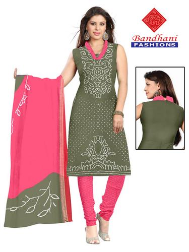 Bandhani Pink Light Green Cotton Silk Suits