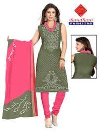 Bandhani Pink Light Green Cotton Silk Suits