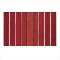Red Striped Wool Blend Rug