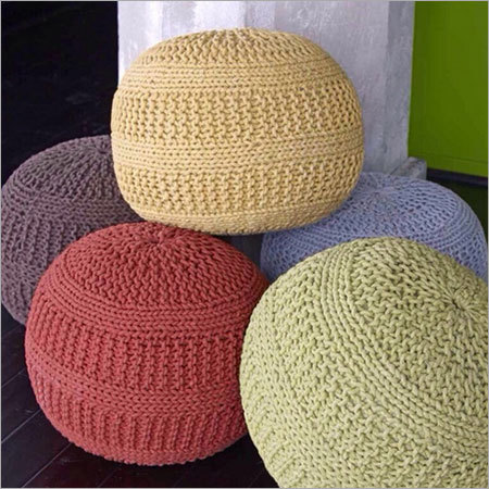 Multi Color Round Chindi Pouf