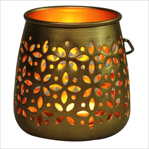 Oak Leaf T Light Candle Holder Dull Gold