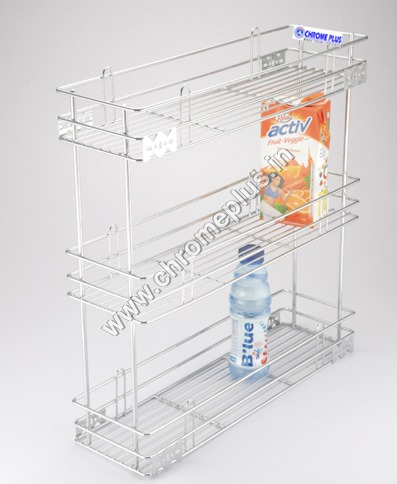 SS Bottle Kitchen 3 Shelve Pullout