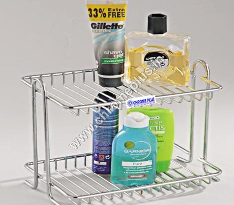 SS Bathroom 2 Shelves Basket