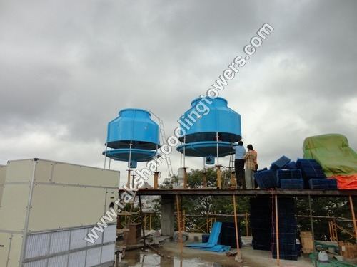 Blue FRP Bottle Shape Round Cooling Tower