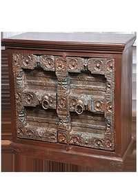 Antiquity Carving Door Wooden Bedside