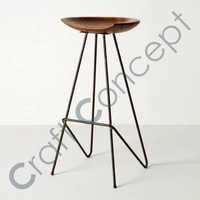 WOODEN & IRON BAR STOOL