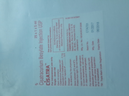 Cisatra Injection (Cisatracurium  Besylate Injection IP)