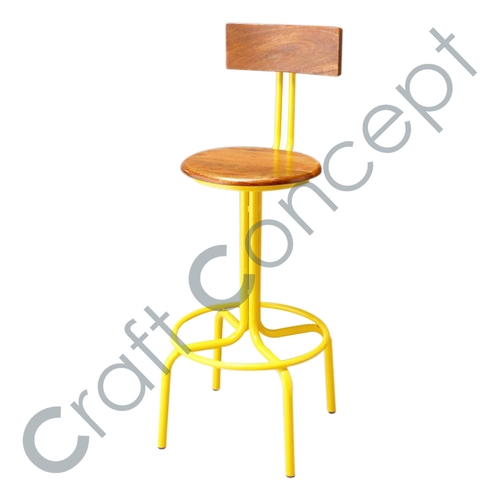 YELLOW METAL WITH WOODEN SEAT BAR CHAIR