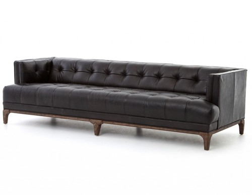 Black Leather 3 Seater Chesterfield Sofa
