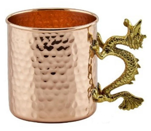 Copper Straight Hammered Mug With Brass Handle
