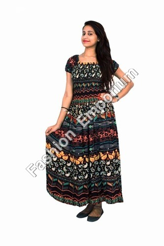 Body Elastic Printed Rayon Long Dress