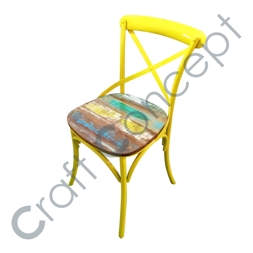YELLOW METAL WITH RECLAIM WOODEN CHAIR