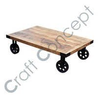 RECTANGLE WOODEN TABLE METAL WHEEL