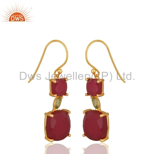 Gold Plated Ruby Gemstone Earrings