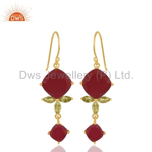 Handmade Gold Plated Gemstone Earrings