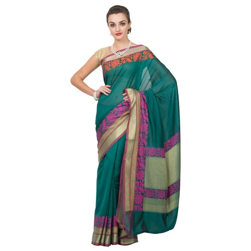 Crepe silk  bridal saree