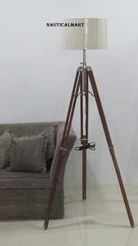 Natural Wood Tripod Floor Lamp Home Decor -NauticalMart