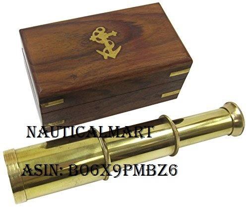 6 Solid Brass Handheld Telescope - Nautical Pirate Spy Glass with Wood Box -NauticalMart