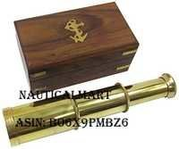 6 Solid Brass Handheld Telescope - Nautical Pirate Spy Glass with Wood Box -NauticalMart