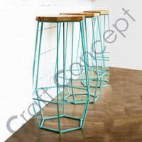 BLUE METAL BAR STOOL WITH WOODEN SEAT