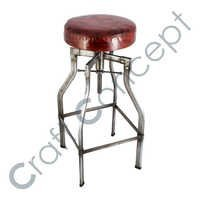SILVER METAL CRANK BAR STOOL WITH LEATHER SEAT