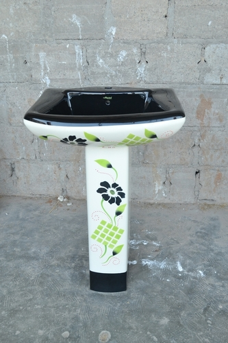 Black Color Printed Pedestal Wash Basin