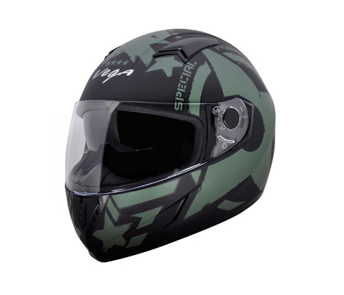 Cara Force Dull Black Green Helmet
