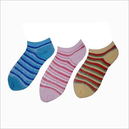 Ladies Strips Print Ankle Socks