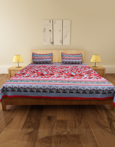 Cocofoam Double Poly Cotton Multicolor Bed Sheet