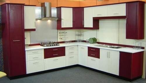 L Shaped Kitchen With Tall Unit