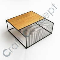 SQUARE WOODEN & METAL COFFEE TABLE