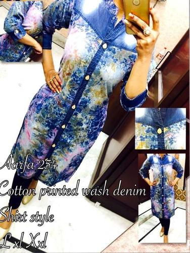Cotton Printed Wash Denim