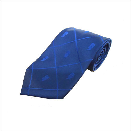 Blue Poly Woven Jacquard Tie