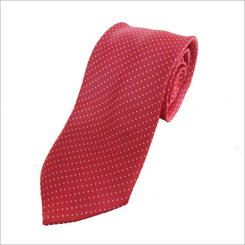 Red Printed Silk Tie