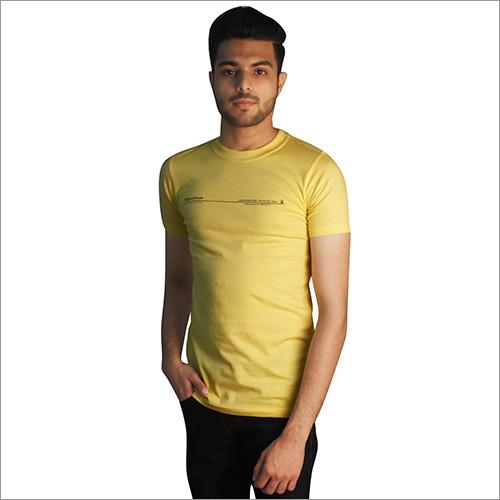 Mens Yellow Round Neck T-Shirts