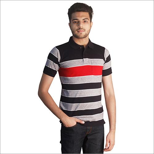 Mens Designer Print Polo Neck T-Shirt