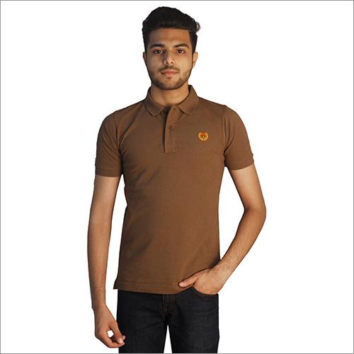 Mens Plain Brown Polo Neck T-Shirt