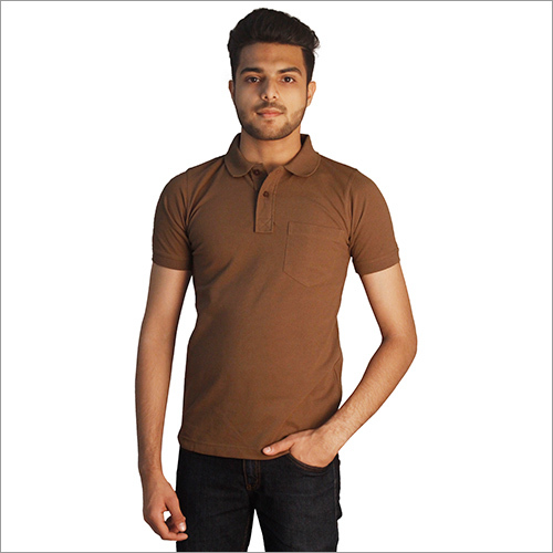 Mens Plain Brown with Pocket Polo Neck T-Shirt