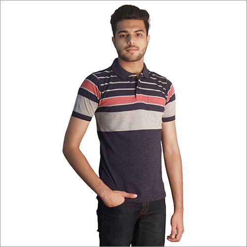 Mens Printed Cotton Polo Neck T-Shirt