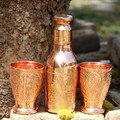 Copper Bottle with 2 bar glasses