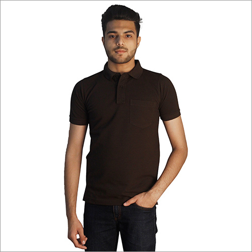 Mens Plain Polo Neck With Pocket T-Shirt
