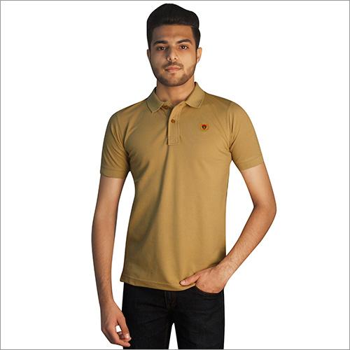 Mens Plain Cotton Half Sleeves Polo Neck T-Shirt