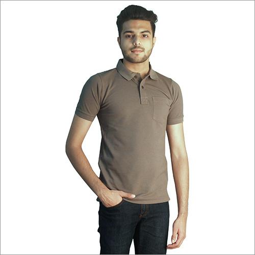 Mens Plain Laurel Oak Cotton Polo Neck T-Shirt