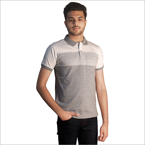 Mens Printed Grey Polo Neck T-Shirt